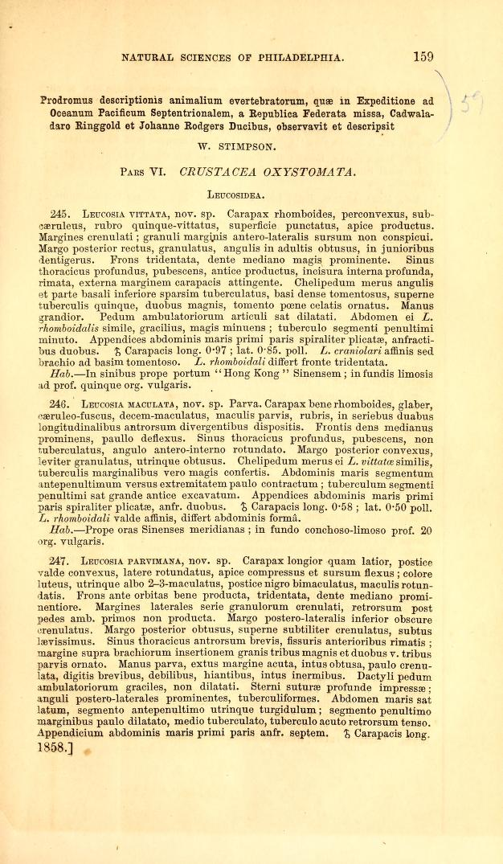Crustacea Oxystomata