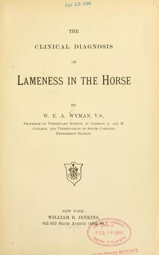 Download The clinical diagnosis of lameness in the horse