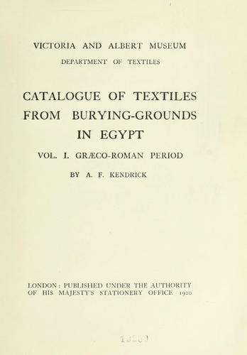 Catalogue of textiles from burying-grounds in Egypt