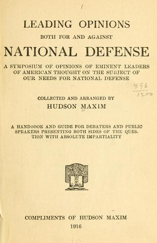Leading opinions both for and against national defense