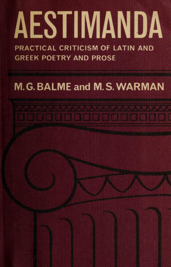 Aestimanda by Maurice George Balme