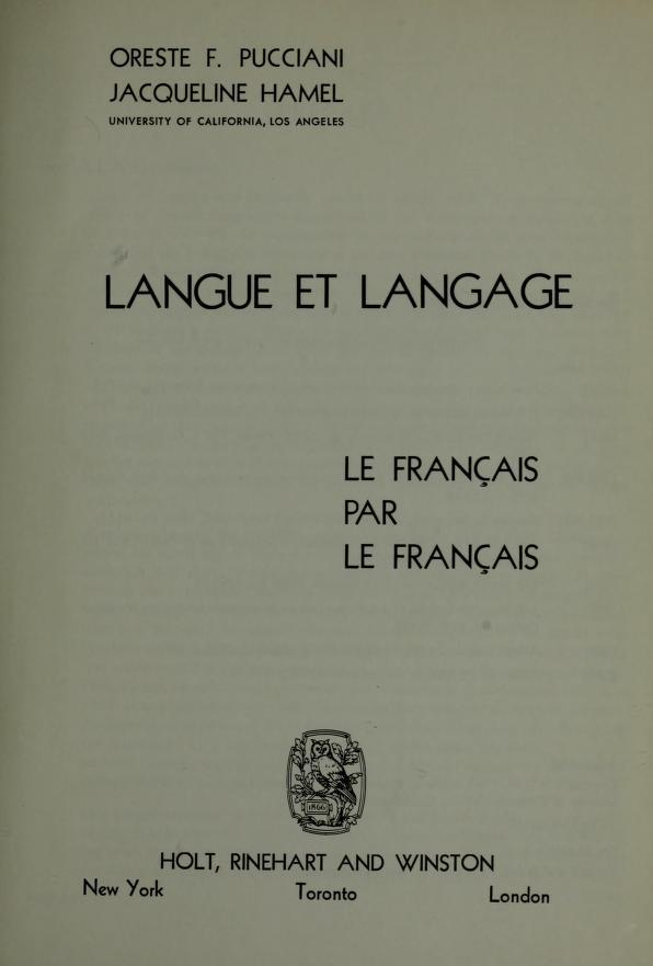 Langue et langage by Oreste F. Pucciani