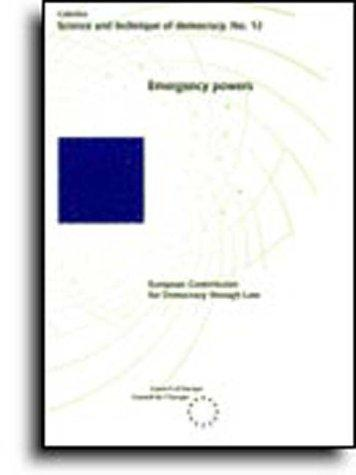 Emergency powers (Science and Technique of Democracy No. 12) (1995) by European Commission for Democracy through Law